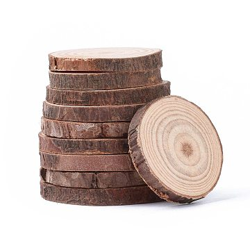 Unfinished Natural Poplar Wood Cabochons, Wooden Circles Tree Slices, Flat Round, BurlyWood, 30~60x5~5.5mm(WOOD-E018-12)