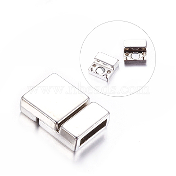 Alloy Magnetic Clasps, Nickel Free, Rectangle, Platinum, 21x14x6mm, Hole: 2.7x10mm(X-PALLOY-MC056-P1-NF)