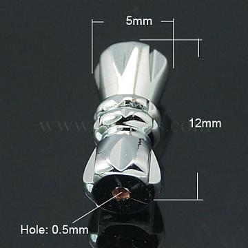 Brass Screw Clasps, Platinum Color, 12x5mm, Hole: 0.5mm(KK-C2965-N)