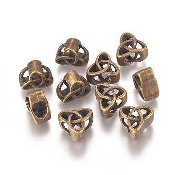 Alloy Beads, Trinity Knot/Triquetra, Irish, Antique Bronze, 11x12x7mm, Hole: 5x6mm(PALLOY-G257-04AB)