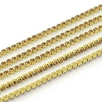 Nickel Free Raw(Unplated) Brass Rhinestone Strass Chains, Rhinestone Cup Chain, 2880pcs rhinestone/bundle, Grade A, Lt.Col,Topaz, 2.2mm, about 23.62 Feet(7.2m)/bundle(CHC-R119-S6-13C-1)