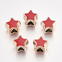 UV Plating Acrylic European Beads, with Enamel, Large Hole Beads, Star, Light Gold, Red, 10.5x11.5x9mm, Hole: 4.5mm