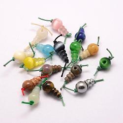 perles synthétiques mélangées en pierre 3, perles t-percées, pour la fabrication de bijoux bouddhiste, teints, 17.5~18x10~10.5 mm, trou: 2 mm(G-E380-10A)