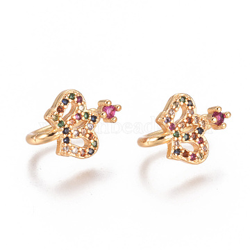 Golden Plated Brass Micro Pave Cubic Zirconia Cuff Earrings, Long-Lasting Plated, Crown, Colorful, 12.5x8.5x1.5~2.5mm(EJEW-L244-28G)