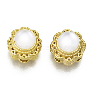 Brass Multi-Strand Links, with Resin, Flower, Matte Gold Color, Creamy White, 10.5x10.5x9mm, Hole: 2mm(KK-N238-012)