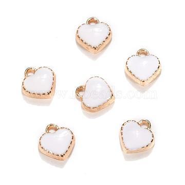 Heart Alloy Enamel Charms, White, 8x7.5x2.5mm, Hole: 1.5mm(X-ENAM-Q033-51B)