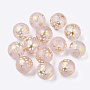 Printed Transparent Resin Beads, Frosted, Round with Sakura Flower Pattern, Pink, 11.5x11mm, Hole: 2mm