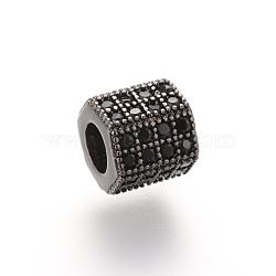Brass Micro Pave Cubic Zirconia Beads, Hexagon, Gunmetal, 7x8x7mm, Hole: 4mm(X-ZIRC-S053-YS012B-3)
