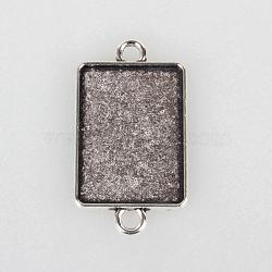 Supports du connecteur de cabochon en alliage de style tibétain, rectangle, argent antique, plateau: 18x25 mm; 36x20x1.5 mm, Trou: 3mm(X-TIBEP-N004-01AS)