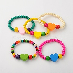 Bracelers de bois extensibles pour enfants, cadeaux de fête des enfants, avec des perles de coeur de couleur aléatoire, couleur mixte, 45mm(BJEW-JB01262)