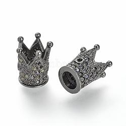 Micro cuivres ouvrent zircone cubique perle, couronne, gunmetal, 12x10mm, Trou: 1~5mm(X-ZIRC-S053-YS009B-4)
