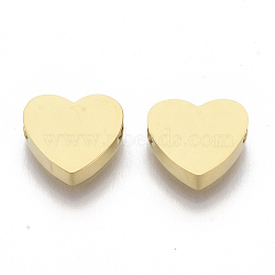 304 Stainless Steel Beads, Heart, Golden, 8x9.5x3mm, Hole: 2mm(X-STAS-S079-140B-1)