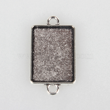 Tibetan Style Alloy Cabochon Connector Settings, Cadmium Free & Lead Free, Rectangle, Antique Silver, Tray: 18x25mm; 36x20x1.5mm, Hole: 3mm(X-TIBEP-N004-01AS)