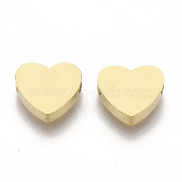 304 Stainless Steel Beads, Heart, Golden, 7x8x3mm, Hole: 2mm(X-STAS-S079-140B-1)