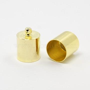 Brass Cord Ends, End Caps, Golden, 16x14mm, Hole: 1mm; Inner Diameter: 13.5mm(KK-D219-16x14-G)