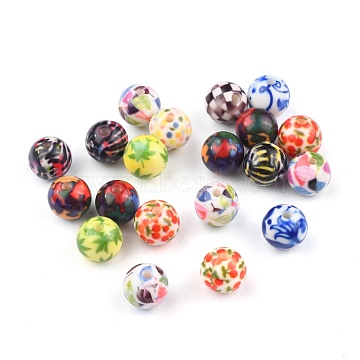 Opaque Printed Acrylic Beads, Round, Mixed Color, 11.5~12x11mm, Hole: 2.5mm(MACR-S271-12mm-M)