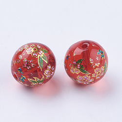 fleur photo perles de verre imprimé, arrondir, rouge, 12x11~12 mm, trou: 1.5 mm(GLAA-E399-12mm-C07)
