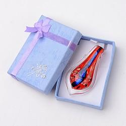 Box-emballés à la main dichroïque verre gros pendentifs, feuille lampwork pendentif avec couleur aléatoire boîte de collier en carton exquis, rouge, 57~60x27~30mm, Trou: 7~10mm(DICH-X047-04)