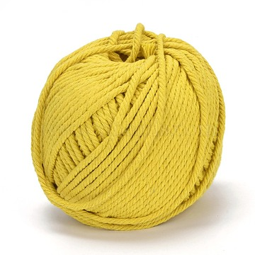Cotton String Threads for Jewelry Making, Macrame Cord, Yellow, 4mm, about 120.29 yards(110m)/roll(OCOR-L039-A06-4mm)