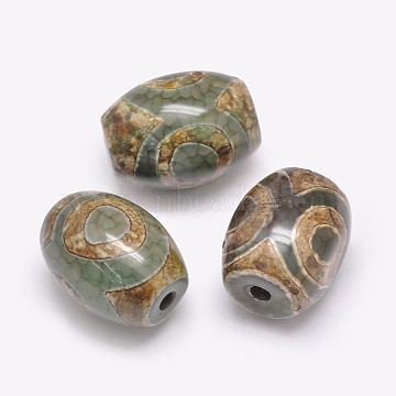 Tibetan Style 3-Eye dZi Beads, Natural Agate Beads, Dyed & Heated, Barrel, Three Eyes, DarkOliveGreen, 15~17x12~13mm, Hole: 2.5~3mm(TDZI-G009-B42)