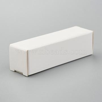 Foldable Kraft Paper Box, for Lipstick Packaging, Rectangle, White, 13.5x4x0.15cm(CON-K008-C-09)