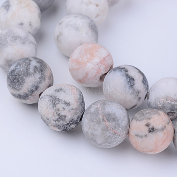 Natural Zebra Jasper Beads Strands, Frosted, Round, 6~6.5mm, Hole: 1mm, about 63pcs/strand, 15.5 inches(X-G-Q462-6mm-03)