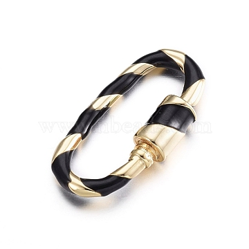 Brass Screw Carabiner Lock Charms, for Necklaces Making, with Enamel, Oval, Golden, Black, 25x13x2.5~5mm(KK-S338-25A)