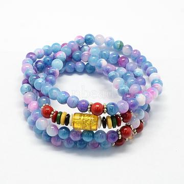 4-Loop Wrap Buddha Meditation White Jade Beaded Bracelets, Buddhist Necklaces, CornflowerBlue, 700x6mm; 108pcs/strand; about 27.5 inches(X-BJEW-R039-17)