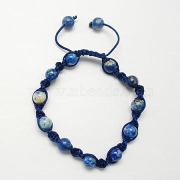 Fashion Handmade Bracelets, with Lapis Lazuli Gemstone Beads, Marine Blue, 55mm(BJEW-R174-8mm-13)