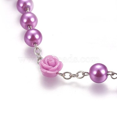 Glass Imitation Pearl Rosary Bead Necklace for Easter(NJEW-WH0005-06)-4