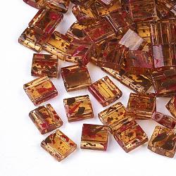 Perles de rocaille en verre transparent à 2 trou, rectangle, chameau, 5x4.5~5.5x2~2.5mm, Trou: 0.5~0.8mm(SEED-S023-30C-07)