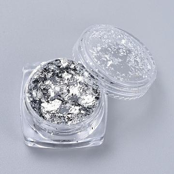 Foil Flakes, DIY Gilding Flakes, for Epoxy Jewelry Accessories Filler, Silver, Box: 2.9x1.6cm(X-DIY-E032-02E)