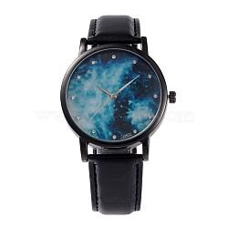 Женские сплав Кожа PU кварцевые наручные часы, со стразами, покрытие черного цвета металла, чёрные, 240x18 мм; голова часы: 39.5x10.5; Циферблат: 35 мм(WACH-M131-02B)