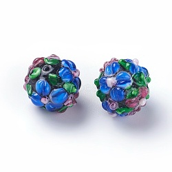Fait main perles au chalumeau cahoteuses, rond, bleu royal, 14~15mm, Trou: 1.5~1.6mm(LAMP-E021-07D)