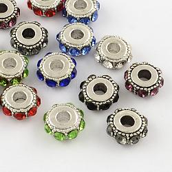 plaqué plat argent antique ronde alliage strass perles européennes, grandes perles de trou, couleur mélangée, 14~15x6~7 mm, trou: 5 mm(X-ALRI-Q228-10)