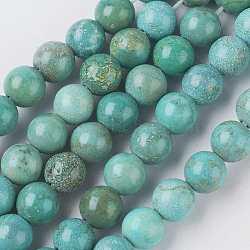 Chapelets de perles en turquoise naturelle, teint, rond, aigue-marine moyen, 6mm, Trou: 0.5mm(TURQ-K004-04-6mm)