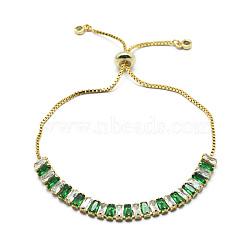 """Bracelets coulissants en laiton, bracelets bolo, avec des chaînes de coupelles en zircone cubique et des chaînes, or, verte, 10-1/4"""" (26 cm)(BJEW-I272-02C)"""