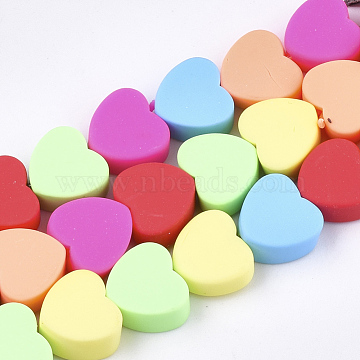 Handmade Polymer Clay Beads Strands, Heart, Mixed Color, 9.5~10x10~10.5x4~5.5mm, Hole: 1.2~1.5mm, about 40pcs/strand, 14.9 inches(X-CLAY-S092-23)