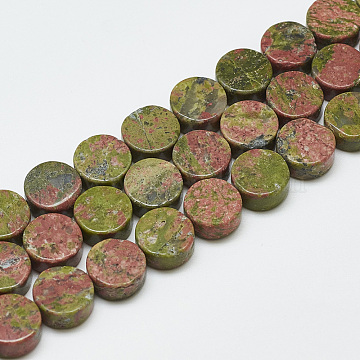 Natural Unakite Beads Strands, Flat Round, 10~10.5x5mm, Hole: 1mm; about 40pcs/strand, 16.3 inches(G-T122-03I)