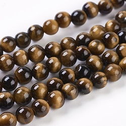 Natural Tiger Eye Beads Strands, Round, 4mm, Hole: 1mm; about 45pcs/strand, 8inches