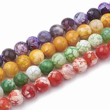 12mm Mixed Color Round Crackle Agate Beads