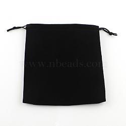 Sac de bijoux de velours, rectangle, noir, 17x15 cm(X-TP-R004-01)