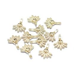 pendentifs en laiton, pour la moitié de perles percées, plaqué longue durée, fleur, réel 14 k plaqué or, 15x12x2 mm, trou: 0.8 mm; plateau: 4 mm; broche: 0.6 mm(KK-F797-50G)