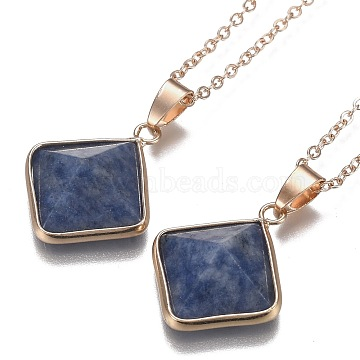 Natural Blue Spot Jasper Pyramid Geometric Pendant Necklaces, with Brass Cable Chains, Golden, 18.58 inches(47.2cm)(NJEW-H204-01C)