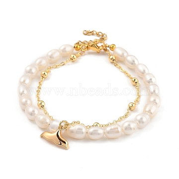 Multi-Strand Bracelets, with Natural Pearl Beads, 304 Stainless Steel Lobster Claw Clasps, Brass Whale Tail Shape Charms & Cable Chains, Golden, Creamy White, 19cm(7-1/2 inches)(BJEW-JB05369-03)
