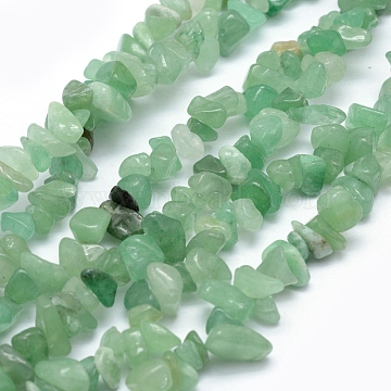 Natural Green Aventurine Beads Strands, Chip, 5~8mm, Hole: 1mm; about 33 inches(84cm)(X-G-P332-09A)