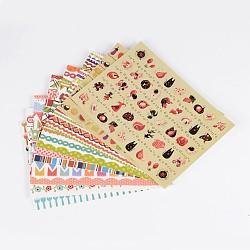 Étiquette de papier de bricolage image paster autocollants, modèle mixte, couleur mixte, 130x92mm; environ 8 feuilles / set(AJEW-L058-52)