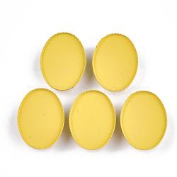 Paramètres de cabochon de glissière de fer environnementale peinte par pulvérisation d'environnement, pour bande de cheveux et décoration cravate, ovale, or, plateau: 25x18 mm; 26x19x6 mm, Trou: 3.5x5mm(IFIN-T009-15E)