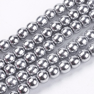 6mm Silver Round Non-magnetic Hematite Beads