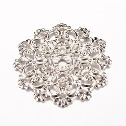 Liens de fer, embellissements en métal gravé, fleur, platine, 48x47x2~3mm, Trou: 2mm(X-IFIN-Q118-26P)